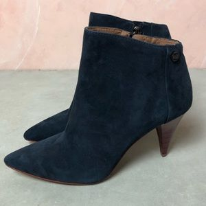 Louise et Cie Lo-Warley Navy Suede Heeled Booties